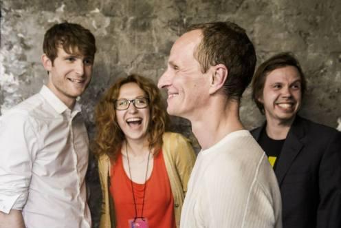 Dougie Evans, Ieva Kuniskis, Darius Stankevicius, Andrej Gubanov at New Baltic Festival, backstage after performing 'He Lived Next Door'