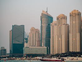 Dubai Beach with dramatic city skyscrapers. Olympus 45mm f1.8