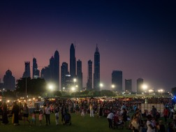 Dubai cityscape in the background at Groove on the Grass, Emirates Golf Course Dubai. #Olympus #17mm f1.8 #Olympus EM5 ii